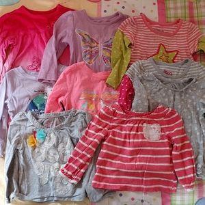 Lot of 9 girls 12 months long sleeve shirts